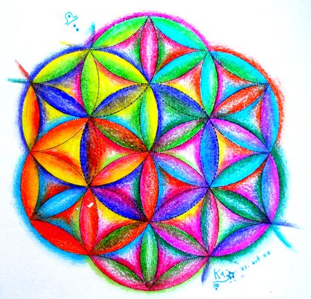 flor de la vida arco iris